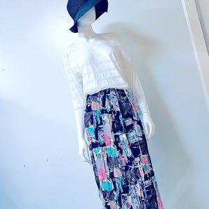 Gorgeous💕VTG Mixed*Media Geo Print Silky Skirt